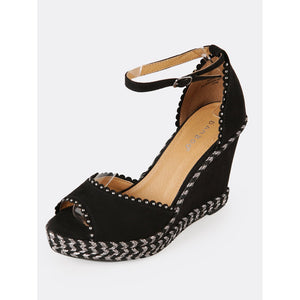 Faux Suede Embellished Peep Toe Wedge Sandal - kats closet1