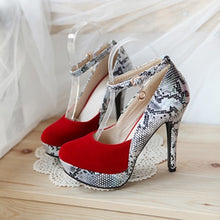 Load image into Gallery viewer, 2016 Women Fantastic Sexy Snake skin Print Pumps Gladiator Ankle Straps High Heels Wedding Shoes Round toe Platform Pumps - kats closet1