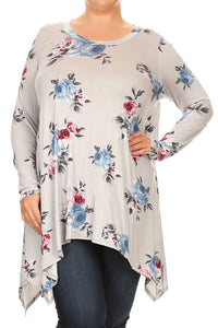 Plus Size Women's Trendy Style Long Sleeves Print Tunic TopPlus Size Women's Trendy Style Long Sleeves Print Tunic Top - kats closet1