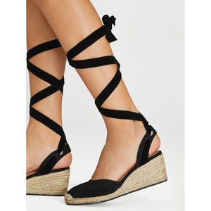 Lace Up Espadrille Wedges - kats closet1