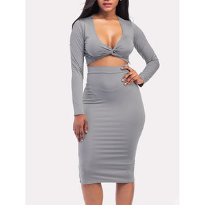 Twist Front Crop Tee And Pencil Skirt - kats closet1