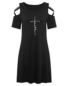 Faith Cold Shoulder Short Sleeve Round Neck Casual T Shirt Dress