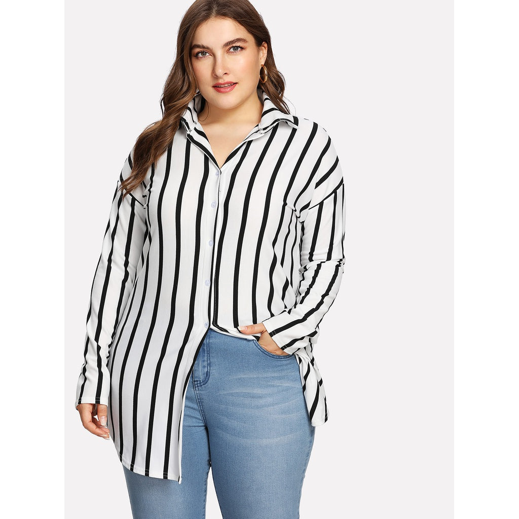 Drop Shoulder Striped Dolphin Hem Shirt - kats closet1