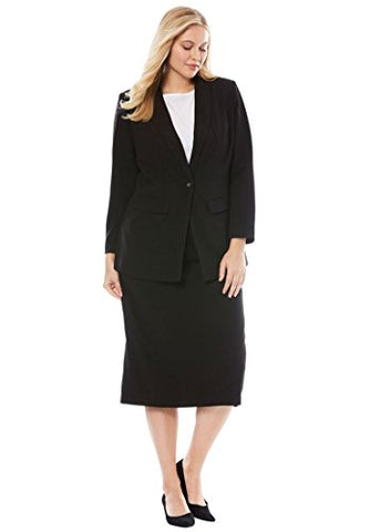 Jessica London Women's Plus Size Tall Single-Breasted Skirt Suit