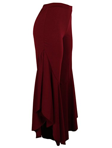 7157d737bb ... GUOLEZEEV Womens Elastic Waist Slit Flounce Flared Bottom Wide Leg  Pants(5 Colors) ...