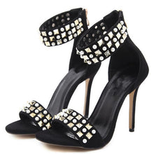 Load image into Gallery viewer, Stiletto High Heel Beaded Strap Shoes - kats closet1