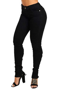 Design 4 Button High Rise Dark Denim Blue Skinny Jeans - kats closet1