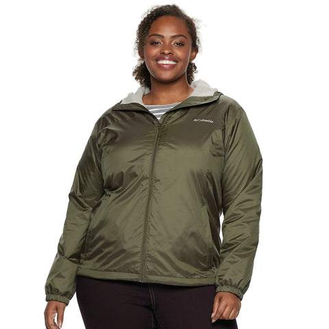 Plus Size Columbia Rain to Fame Hooded Sherpa-Lined Jacket - kats closet1