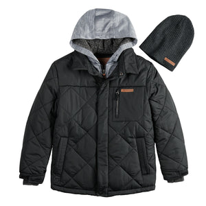 Boys 8-20 Quilted Jacket & Hat - kats closet1
