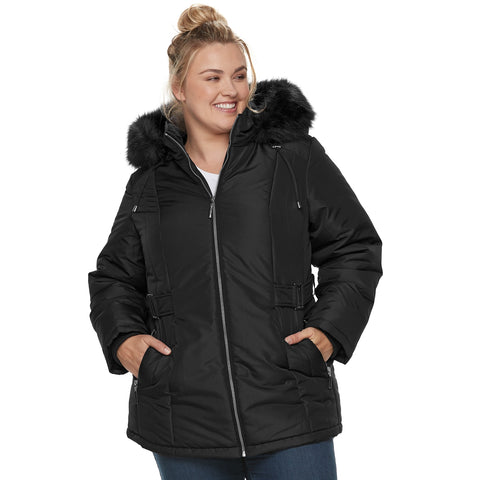 Plus Size d.e.t.a.i.l.s Hooded Quilted Heavyweight Jacket - kats closet1