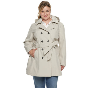 Plus Size Sebby Collection Double-Breasted Hooded Soft Shell Jacket - kats closet1