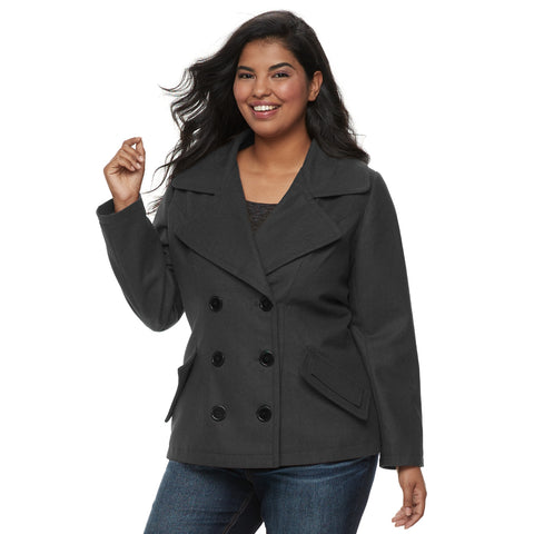 Juniors' Plus Size J-2 Oxford Wool Double Breasted Jacket - kats closet1