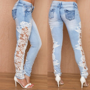 Light Blue Denim Crochet Lace Skinny Leg Jeans - kats closet1