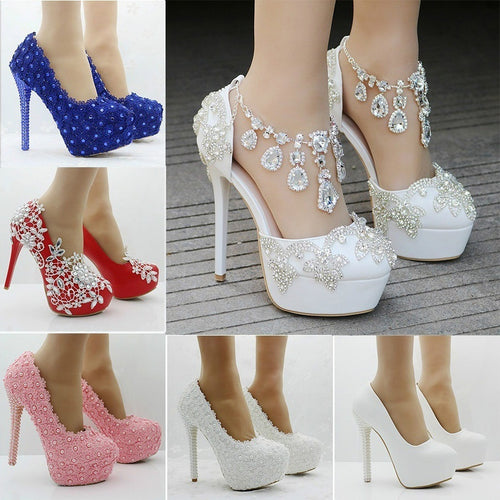 Women Elegant Wedding Shoes Pearl Lace Flower Platform Rhinestone High-heeled Pump Shoes Bride Dress Shoes Single Shoes - kats closet1