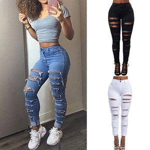 Ripped Holes Cut Out Punk Street Denim Jeans