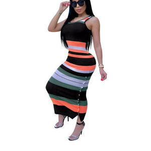 Striped Strapless Sleeveless Bodycon Maxi Dress