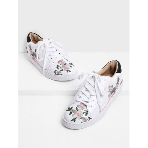 Calico Embroidered Lace Up Sneakers - kats closet1