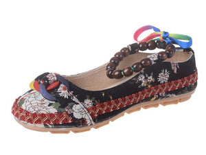 Plus Size Casual Flat Shoes Womens Handmade Beaded Ankle Straps Loafers Retro Ethnic Embroidery Ethnic Style Shoes O916 - kats closet1