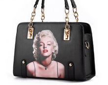 Load image into Gallery viewer, Marilyn Monroe Pattern PU Leather Black Handbag