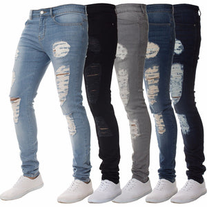 2 Color Men Fashion Casual Denim Long Slim Fit Jeans - kats closet1