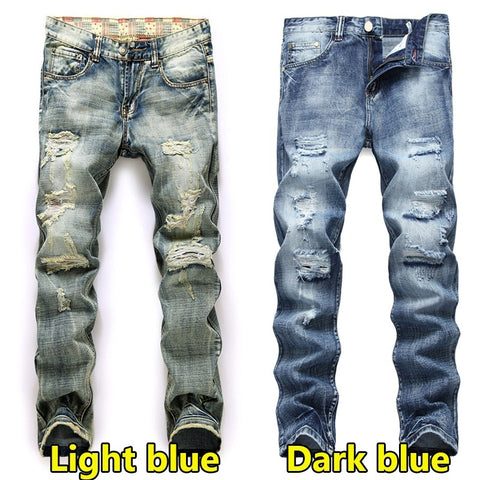 Men's Straight Denim Skinny Jeans - kats closet1