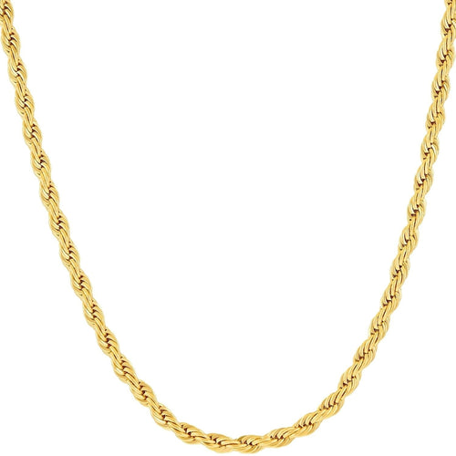 3MM Diamond-cut Rope Chain Necklace in 14K Solid Gold BOXED - kats closet1