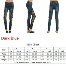 Load image into Gallery viewer, Light Blue Denim Crochet Lace Skinny Leg Jeans - kats closet1