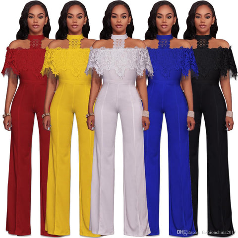 Halter Neck Off Shoulder Sleeveless Fashion Wide Leg Jumpsuit
