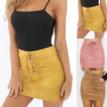 Load image into Gallery viewer, Leather Suede Lace Up Bandage Short Mini Skirt - kats closet1