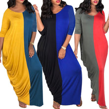 Load image into Gallery viewer, (3 Colors)1 00% Cotton Elastic Bats Sleeve Loose Long Dress