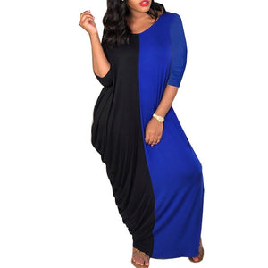 (3 Colors)1 00% Cotton Elastic Bats Sleeve Loose Long Dress