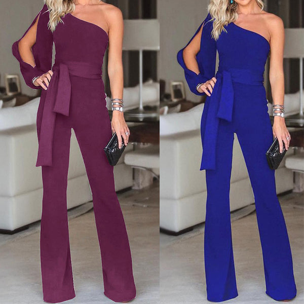 One Shoulder Fashion Strapless Wide Leg Jumpsuit