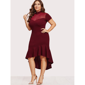 Mesh Insert Frill Dip Hem Dress - kats closet1