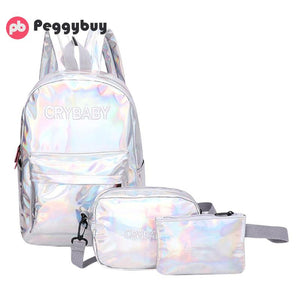 Letter Laser Hologram Leather Backpack