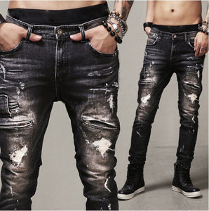 Mens Ripped Biker Jeans, Cotton Black Slim Fit Street Style Denim Jeans - kats closet1