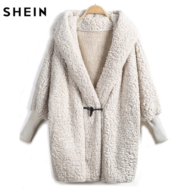 SHEIN Hooded Outwear Winter Newest Fashion Design Women's Apricot Batwing Long Sleeve Loose Streetwear Hooded Coat - kats closet1
