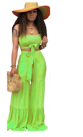 2 Piece Elastic Spaghetti Strap Crop Top and Wide Leg Pants Set