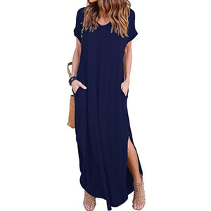 Short Sleeve Split Loose Dress - kats closet1