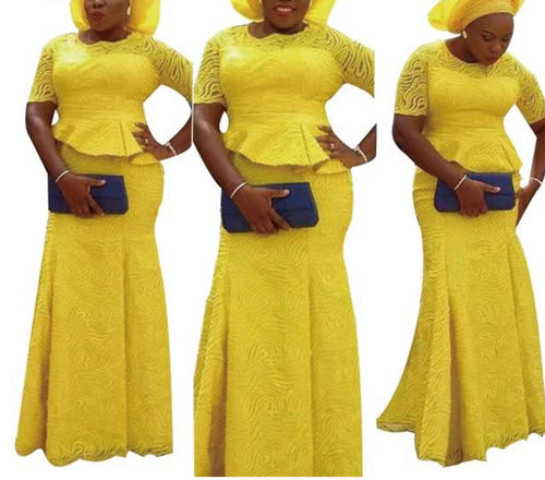 Embroidered African Tops and Skirt Set With Head Tie - kats closet1