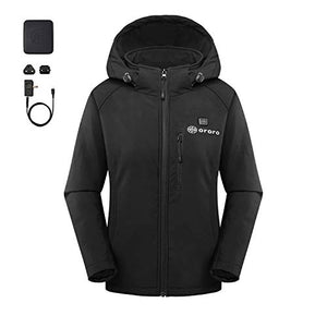 Women's Slim Fit Heated Jacket with Battery Pack and Detachable Hood - kats closet1