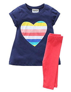 Toddler Girls Cotton Tops And Leggings Outfit