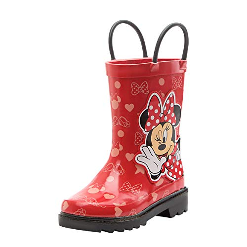 Disney Girls Minnie Mouse Character Printed Waterproof Easy-On Rubber Rain Boots - kats closet1