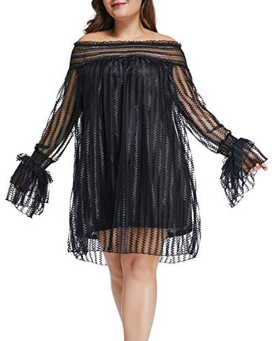 deed4cecd78 Plus Size Mesh Lace Off Shoulder Ruffle Long Sleeve Party Mini Dress ...