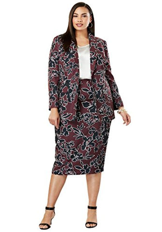 Jessica London Women's Plus Size Single-Breasted Skirt Suit
