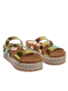 Metallic Hologram Slide - Molded Footbed Platform Sandals