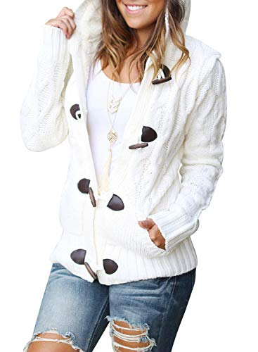 Sidefeel Women Button Up Cardigan Knit Hooded Cable Sweater