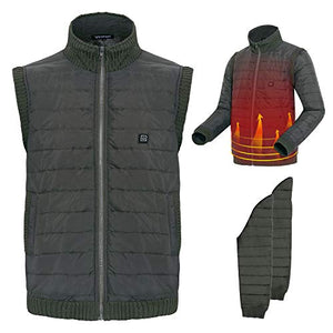 Electric Heated Vest, Five Temperature Adjustable USB Charging Comes with Detachable Sleeves Warm Gilet with Laundry Bag for Winter Skiing Hiking Motorcycle Travel - kats closet1