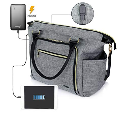 Smart Baby Diaper Bag with Portable Phone Charger, Changing Pad, Wet Dry Bag - kats closet1