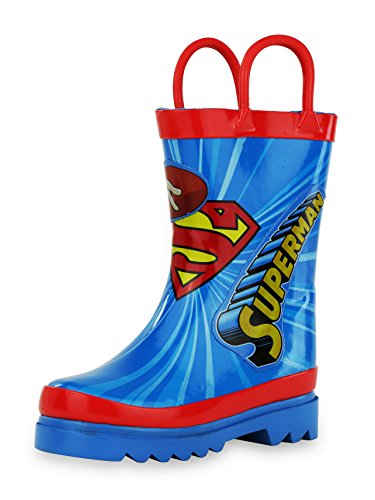 DC Comics Kids Boys' Superman Character Printed Waterproof Easy-On Rubber Rain Boots - kats closet1