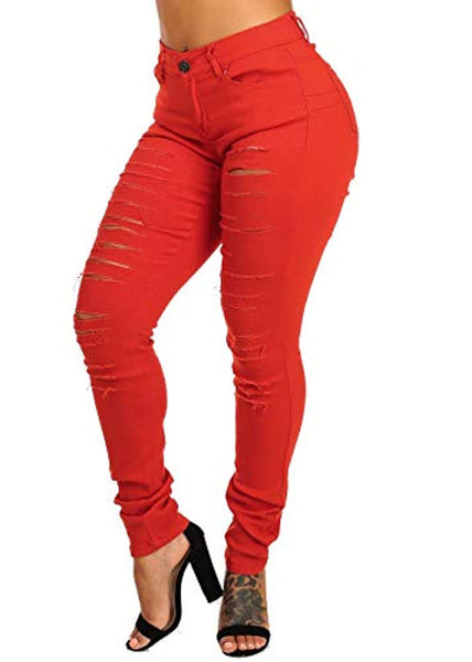 Solid Butt Lifting Distressed 1 Button Skinny Leg Jeans